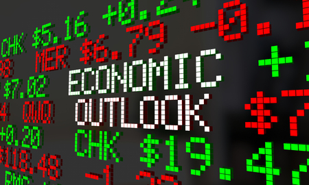 Economic Outlook Stock Market Ticker Financial Futures Forecast 3d Illustration Stock Photo