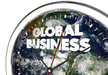 spinning: Global Business Clock International Companies World 3d Illustration - Elements of this image furnished by NASA