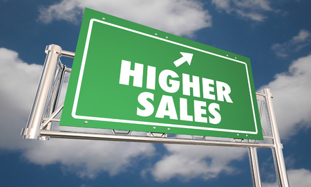 Higher Sales Freeway Road Sign Sell More Products 3d Illustration 版權商用圖片