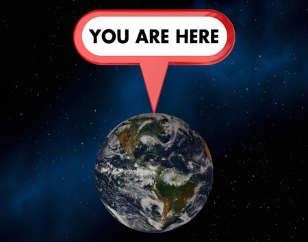 illustrated globe: You Are Here Planet Earth Sign Pin 3d Illustration - Elements of this image furnished by NASA