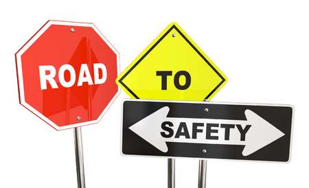 Road to Safety Stop Caution Warning Signs 3d Illustration
