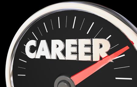 Career Speedometer Rise Increase Success Measure Job Goal 3d Illustration Stok Fotoğraf