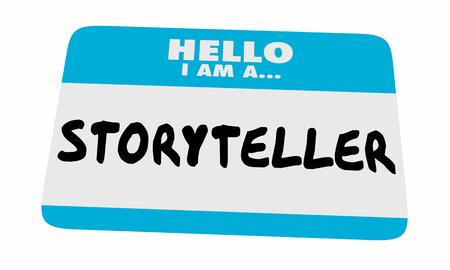 Storyteller Hello Name Tag Sticker Communiceer Bericht 3d Illustratie