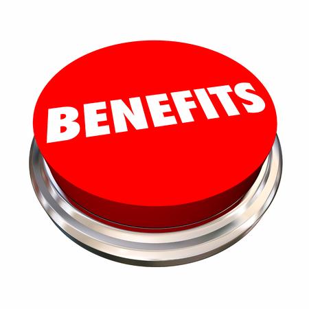 Benefits Button Features Bonus Qualities 3d Illustration Reklamní fotografie