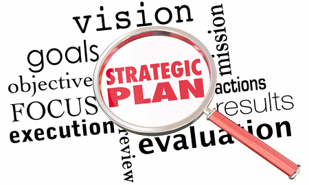 Strategic Plan Magnifying Glass Strategy Goals 3d Illustration
