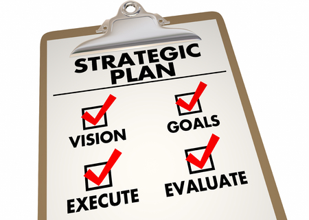 Liste de contrôle du plan de travail du plan stratégique Articles d'action Illustration 3d Banque d'images - 87246274