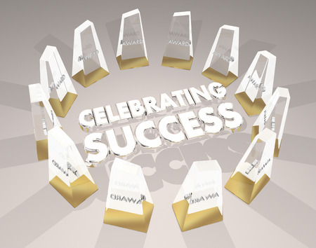 Celebrating Success Awards Ceremony Recognition 3d Illustration Stok Fotoğraf - 87328939