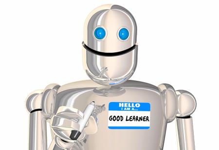 Hallo, ich bin ein guter Learner Name Tag Aufkleber Robot 3d Illustration Standard-Bild - 87589250