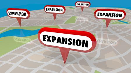 Expansion Neue Standorte Karte Pins Öffnen Mehr 3D-Illustration Standard-Bild