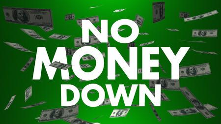 No Money Down Payment Cash Falling 3d Illustration