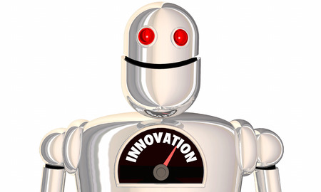 potential: Innovation Gauge Level Innovate New Ideas Robot 3d Illustration