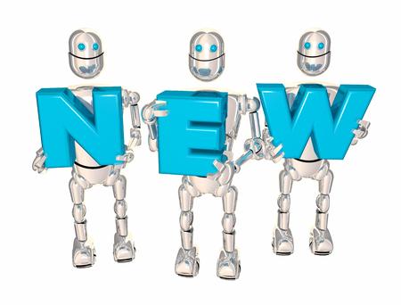リフティング文字の単語がリリースされたばかりの新型ロボットを 3 d イラスト更新 写真素材