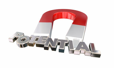 Potential Magnet Letters Possible Realize Full Ability 3d Illustration Stock Photo