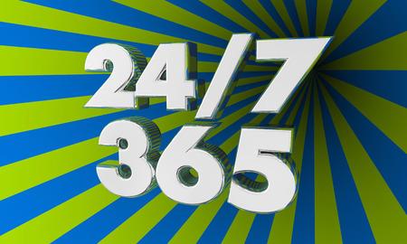 24 uur dag 7 dagen week 365 jaar woorden nummers 3d illustratie