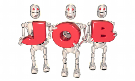 Job Robots Holding Letters Career New Work Opportunity 3d Illustration