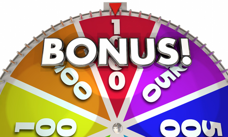 Bonus Extra Added Pay Commission Game Show Wheel 3d Illustration Stock Photo
