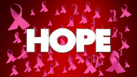 Hope Breast Cancer Ribbons Faith Belief FInd Cure 3d Illustration Stok Fotoğraf