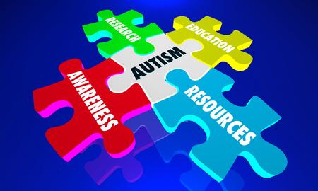 Autism Puzzle Pieces Autistic Awareness Information 3d Illustration Banco de Imagens
