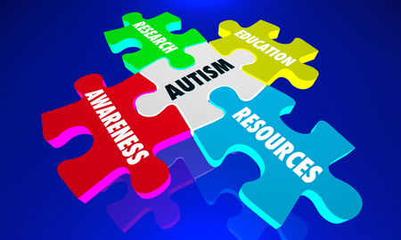 Autism Puzzle Pieces Autistic Awareness Information 3d Illustration Stock Photo