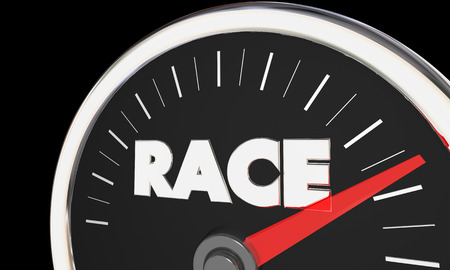 Race Speedometer Needle Rising Speed Fast Driving Compete 3d Illustration Stok Fotoğraf