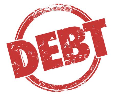 financial adviser: Debt Money Owed Word Red Round Stamp Grunge Illustration