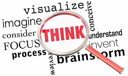 Think Brainstorm Visualize Understand Magnifying Glass Word Collage 3d Illustration