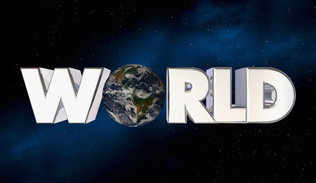 World Planet Earth Space Word Letters 3d Illustration