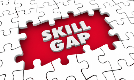 Skill Gap Knowledge Expertise Puzzle 3d Illustration Banco de Imagens - 88154151