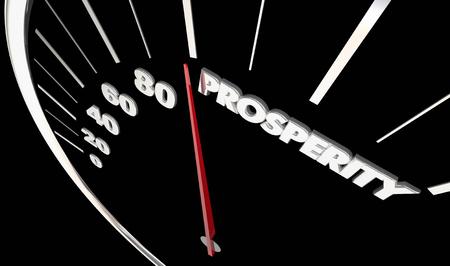 Prosperity Economic Speedometer Income Earning Money 3d Illustration Stock Photo
