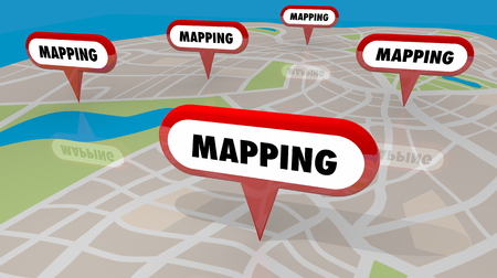 Mapping Navigation Direction Pins Map Route 3d Illustration