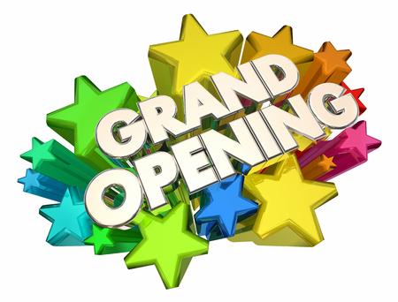 Grote Openingssterren Nieuwe Open Datum die 3d Illustratie adverteren