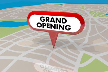 Grand Opening teken Pin op kaart New Business Store onthulling 3d illustratie
