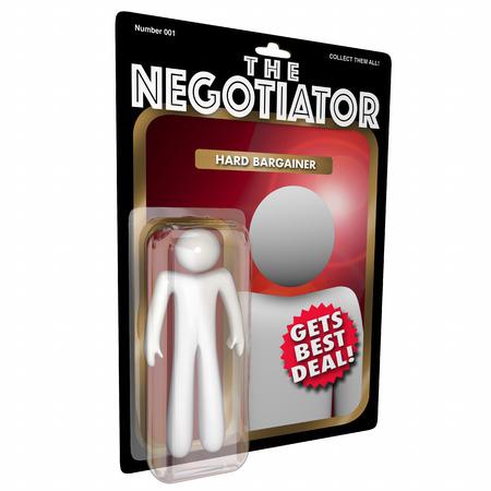 Il negoziatore ottiene il migliore affare guida l'azione di negoziazione di affare duro Figura illustrazione 3d Archivio Fotografico - 88606532