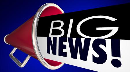 ビッグ ニュースお知らせ重要な更新メガホン拡声器 3 d イラストレーション