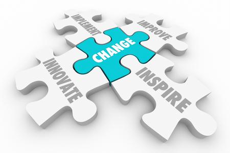 Change Innovate Improve Implement Puzzle Pieces Ilustración 3D