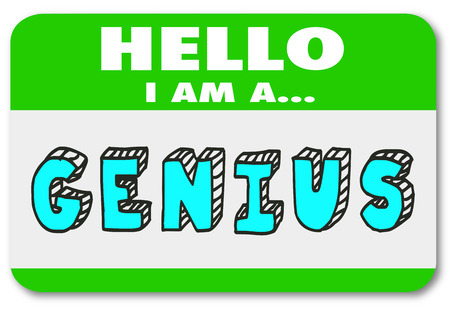 Genius Name Tag Sticker Hello Introduction Smart Intelligent 3d Illustration Banco de Imagens - 88277750
