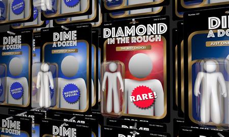 Diamond in the Rough Vs Dime a Dozen Candidates Action Figures 3d Illustration Banco de Imagens