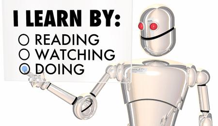 Leermethoden Doen Kijken Robot Keuzes 3D-afbeelding Stockfoto - 89405182