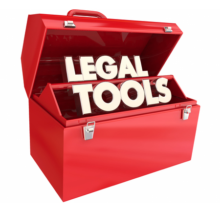 Legal Tools Law Toolbox Attorney Lawyer Resources 3d Illustration Stock Photo