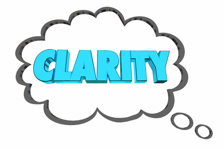 Clarity Consise to the Point Communication Thought Cloud Word 3d Illustration Stok Fotoğraf - 89404827