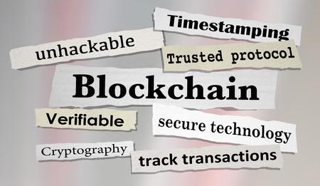 Blockchain Technology Secure Transactions News Headlines 3d Illustration