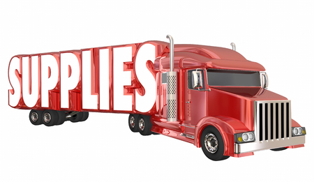 Supplies Truck Delievering Needed Goods Assistance Relief 3d Illustration Stock Photo