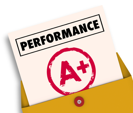Performance Report Card Grade Review A Plus 3d Illustration 版權商用圖片