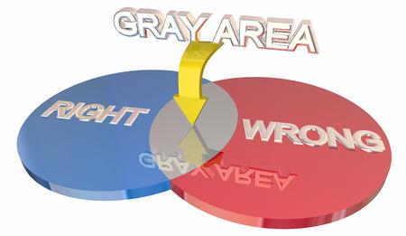 Gray Area Right Vs Wrong Ambiguity Venn DIagram 3d Illustration