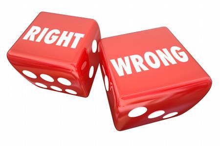 오른쪽 대 잘못된 주사위 진실한 틀린 틀린 부정확 한 3d 일러스트 스톡 콘텐츠
