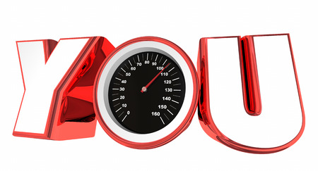 accomplish: You Speedometer Word Measure Success Achievement 3d Illustration