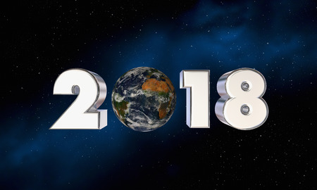 2018 Earth Planet World New Year Number 3d Illustration - Elements of this image furnished by NASA