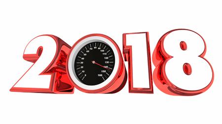2018 Snelheidsmeter Nieuwjaar Doelen Succes Toekomstige 3d Illustratie