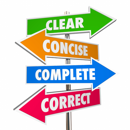 Clear Concise Complete Correct Communication 4 Arrow Signs 3d Illustration 版權商用圖片