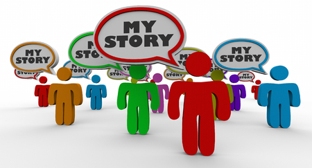 My Story People Speech Bubbles Share Your Experience 3d Illustration Banco de Imagens